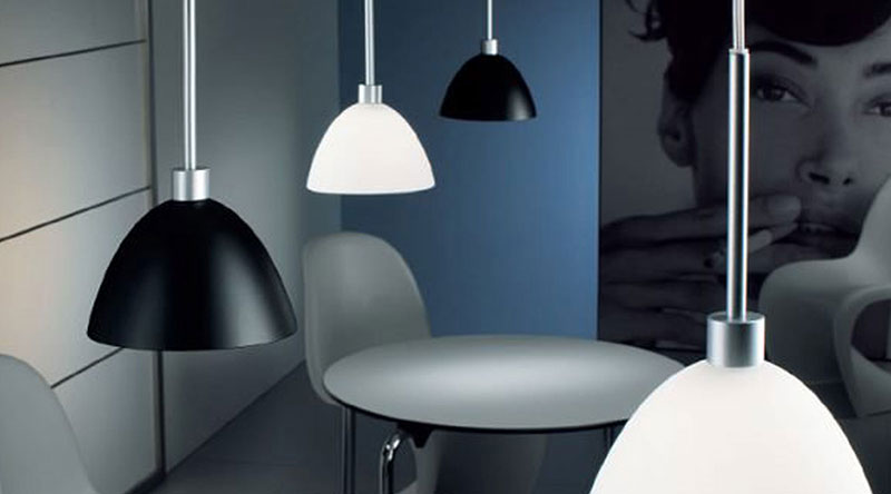 Pendant lights in opaque colours